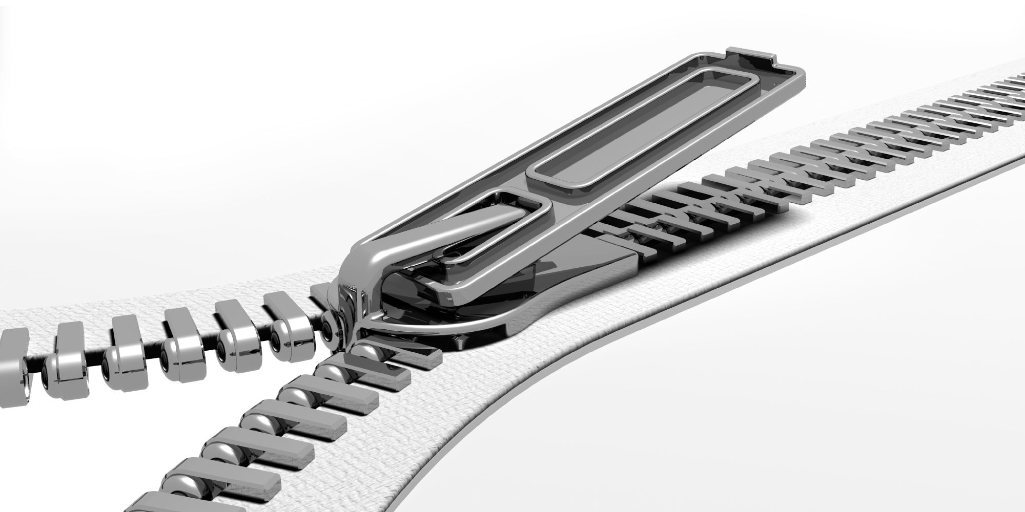 3D render of a zipper opening